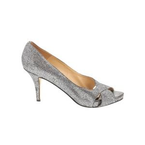 Kate Spade Sparkly Silver Open Toe Pump Heels